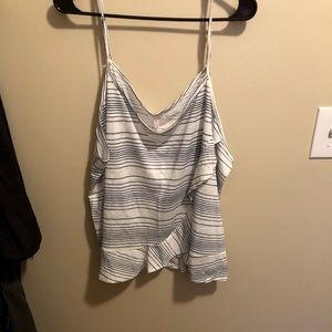 Maurice's blue & white striped tank with ruffles